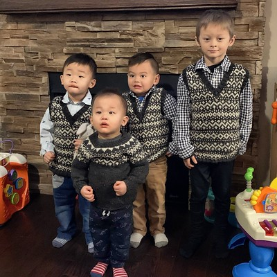 I finished the three stranded vests that I was knitting for my grandsons to match the pullover I knit the youngest for his first birthday!