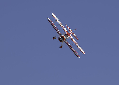 Red and White Biplane