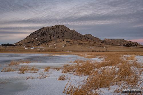 bearbutte bearbuttestatepark southdakota blackhills january winter nikond750 clouds ice icy frozen bearbuttelake sunset evening tamron2470mmf28 reeds grass sturgis