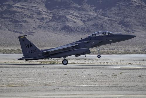 F-15E On Its Main Gear