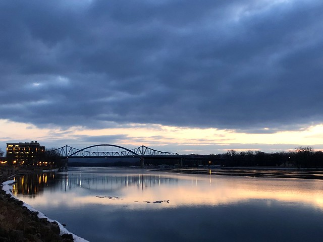 a high of 44 F today [the thawing river]