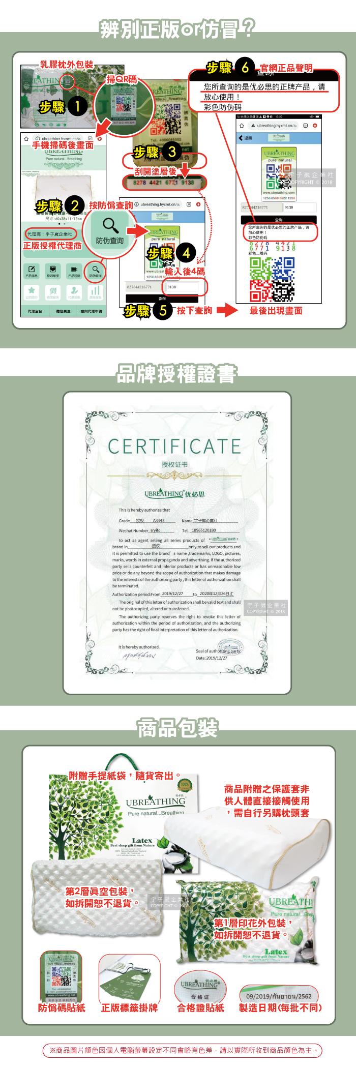 優必思乳膠枕介紹(2)防偽.證書.包裝