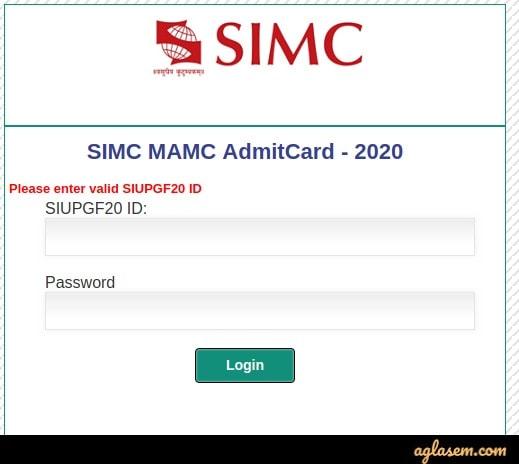 SIMC MA(MC) Admit Card Login