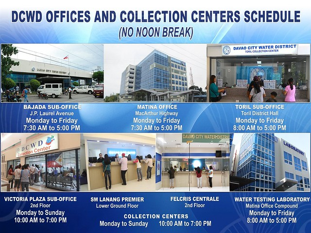 Davao City Water District DCWD Offices and Collection Center Schedule IMG_3070