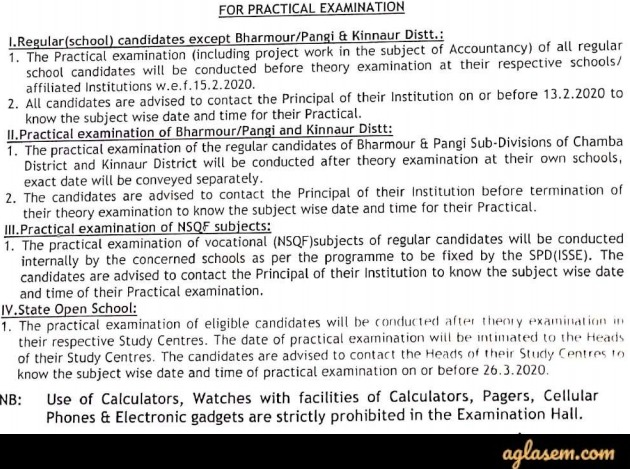 HPBOSE SOS Date Sheet 12th Class March 2020 | HP Board Plus Two (Available) - Exam Postponed!