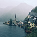 Scenic view of famous Hallstatt mountain village