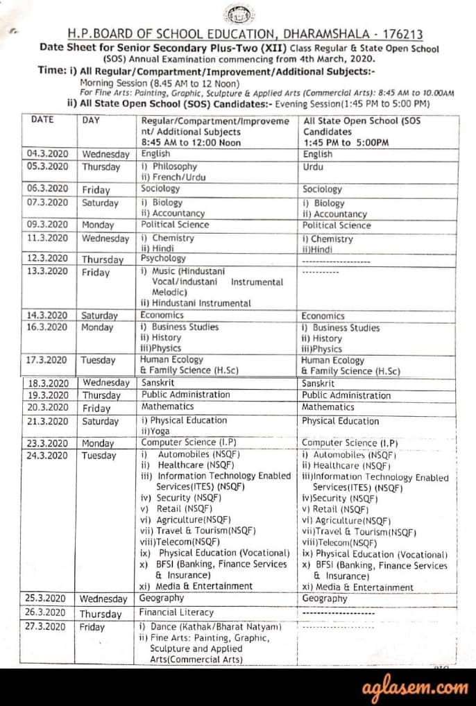 HP Board 12th Date Sheet 2020