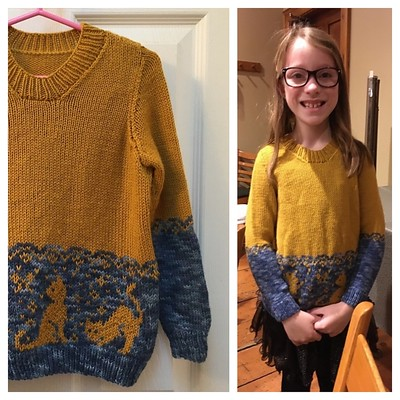 Looks like Lila loves the Cats in the Garden sweater Sandi test knit for Katherine Paddison