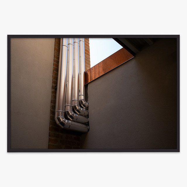 Pipes and shadows. (26,7 x 40 cm Framed).