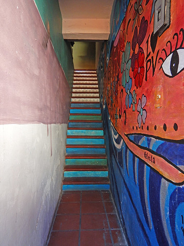 Inside the door with the red flowered mural are some stairs and a red whale mural in Puerto Vallarta, Mexico