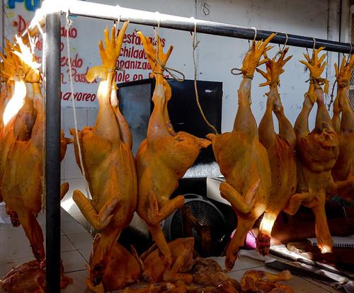 Chickens for sale in the market in Marquelia, Mexico