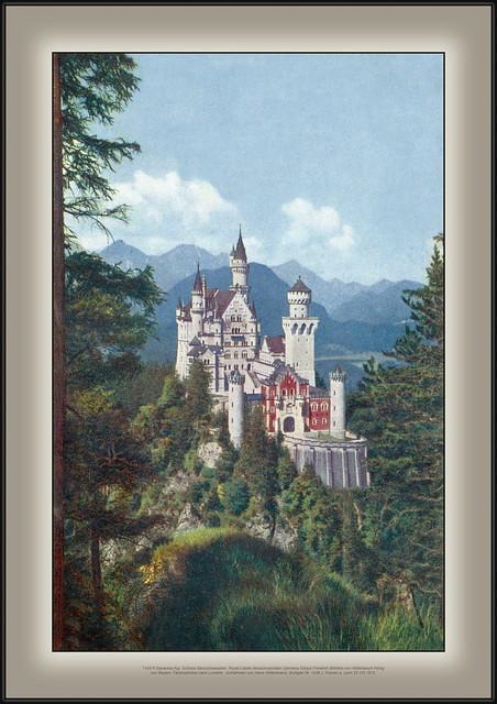 7445 R Bavarska Kgl. Schloss Neuschwanstein  Royal Castle Neuschwanstein Germany Erbaut Friedrich Wilhelm von Wittelsbach König von Bayern. Farbenphotos nach Lumière - Aufnahmen von Hans Hildenbrand, Stuttgart Nr. 1438 J. Füssen a. Lech 22.VIII.1913.