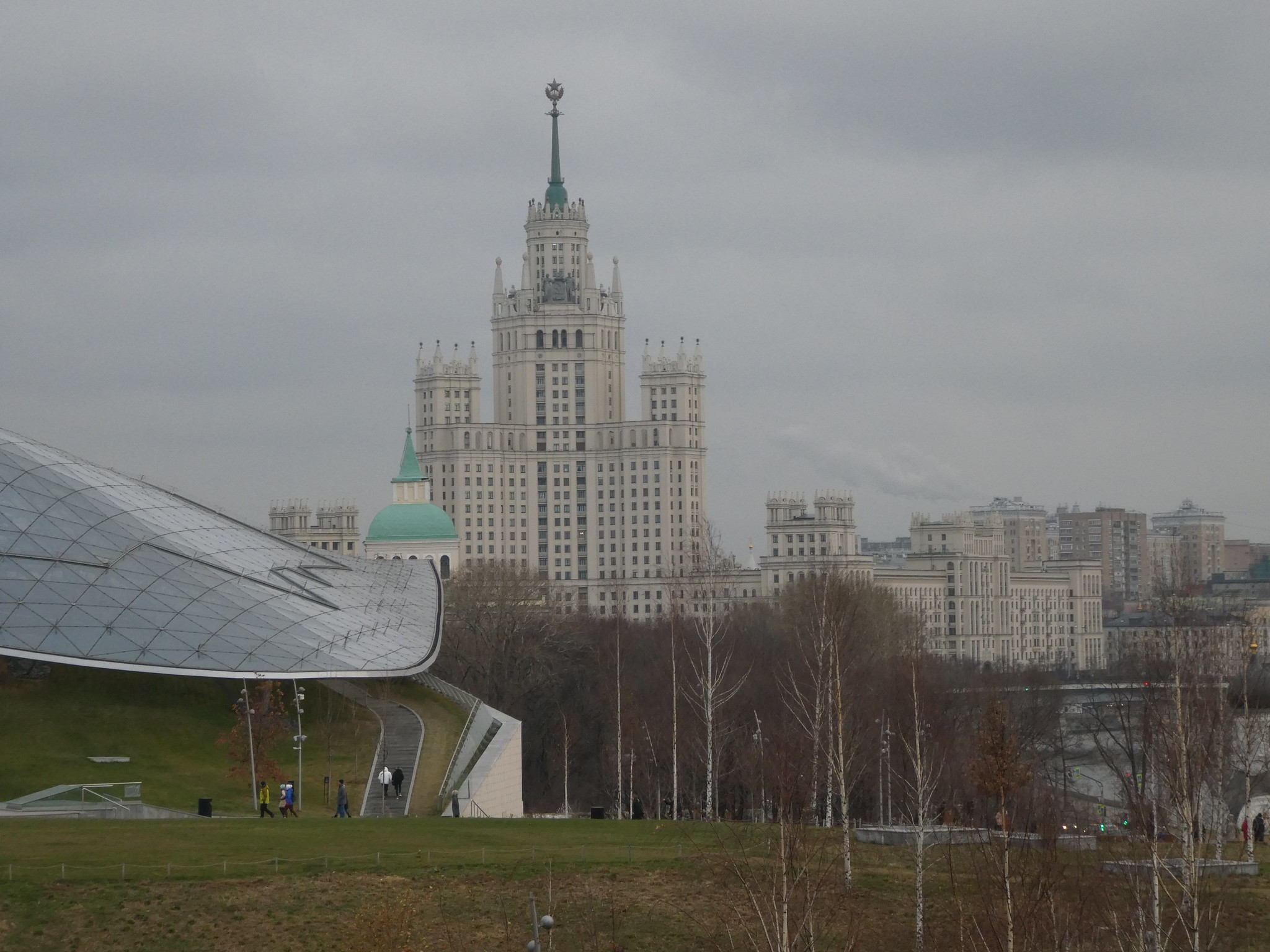 View of Kotelnicheskaya Embankment Building from Zaradaye Park, Moscow
