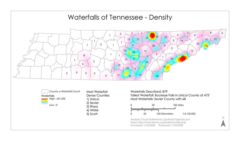 Waterfalls of Tennessee - Density
