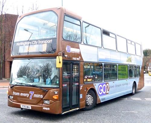 YT10 UWJ 'Nottingham City Transport' No. 980 '17 brown line'. Scania N230UD / Optare on Dennis Basford's railsroadsrunways.blogspot.co.uk'