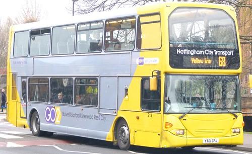 YT61 GPJ 'Nottingham City Transport' No. 913 '68/69 yellow line'. Scania N230UD / Optare on Dennis Basford's railsroadsrunways.blogspot.co.uk'