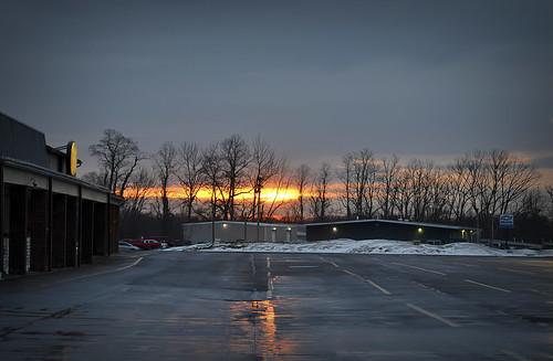 outside odc sunrise trumansburg riseorraise shursave wet clouds raining parkinglot
