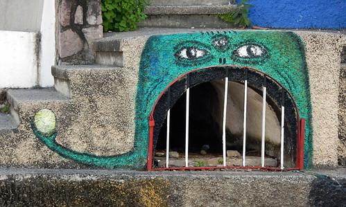 A monster guarding a drain in Puerto Vallarta, Mexico