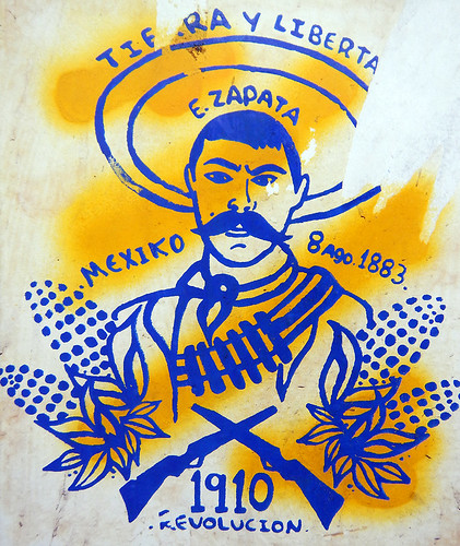 A poster of Emiliano Zapata in Lazaro Cardenas, Mexico