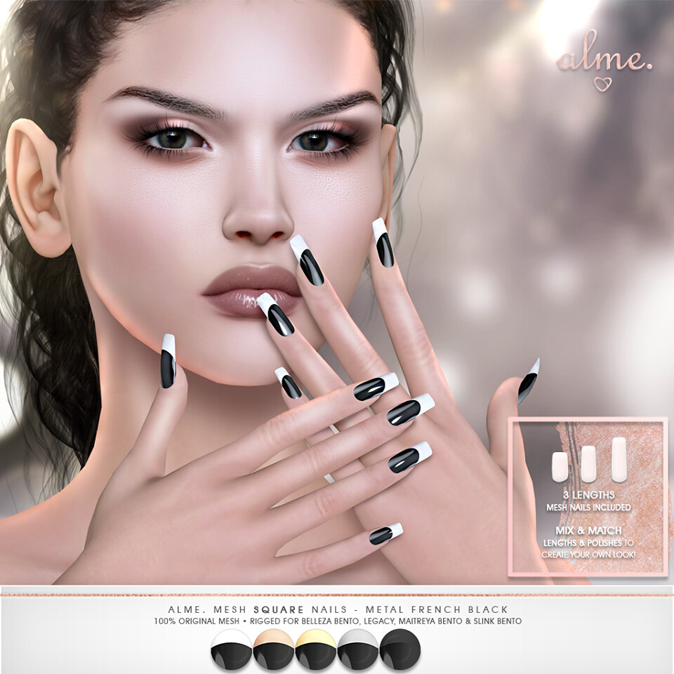 "Alme.​ for Saturday Sale – New Promo Release:  Alme Mesh Square Nails ""Metal French Black"" ♥"