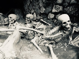 Skeletons at the old port of Herculaneum, Italy.