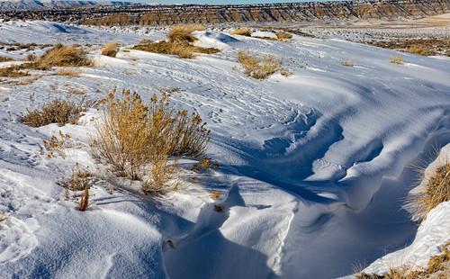 rocksprings wyoming unitedstatesofamerica snow winter wind landscape desert sweetwatercounty drift dune