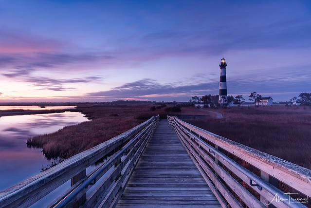 Daybreak Path-Bodie Island Lighthouse (Nags Head, North Carolina.)