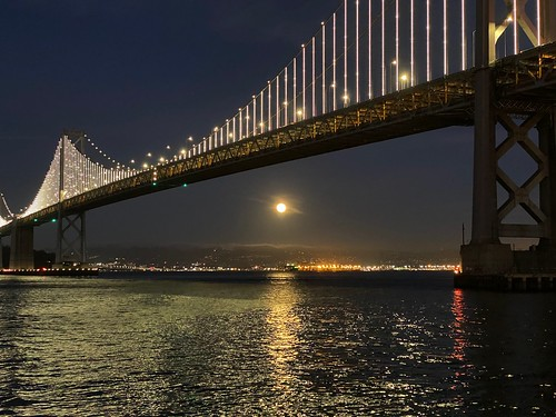 Moon under Bay Bridge