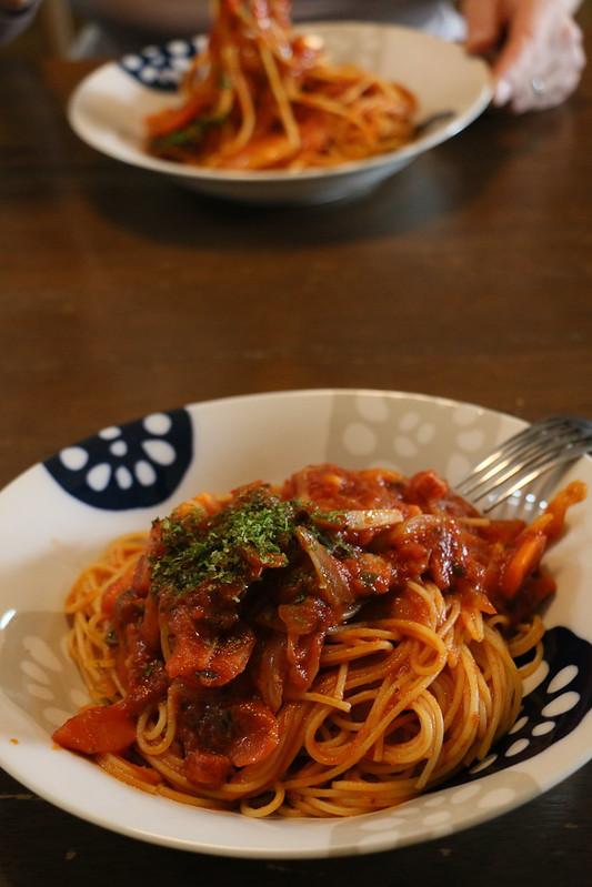 お昼にスパゲティつくりました