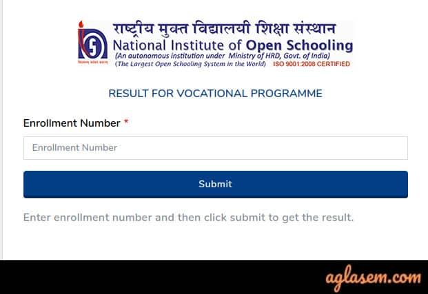 NIOS 12th Result October 2019
