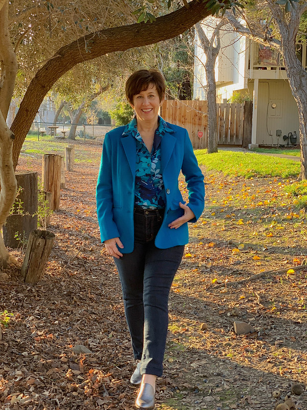 Blue voile shirt with jacket2