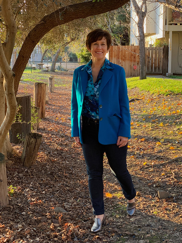 Blue voile shirt with jacket1
