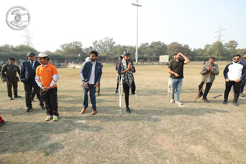 HH blessing the physically abled devotees through Cricket