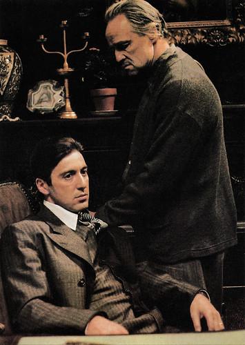 Al Pacino and Marlon Brando in The Godfather (1972)
