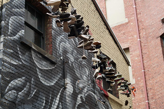 Strung up sneakers, Duckboard Place, Melbourne | by Joe Lewit