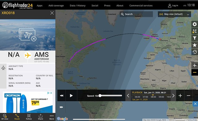 XR0018 Dassault Falcon FA7X (PH-GWS) delivery flight from Litttle Rock (AR) to Schiphol Amsterdam