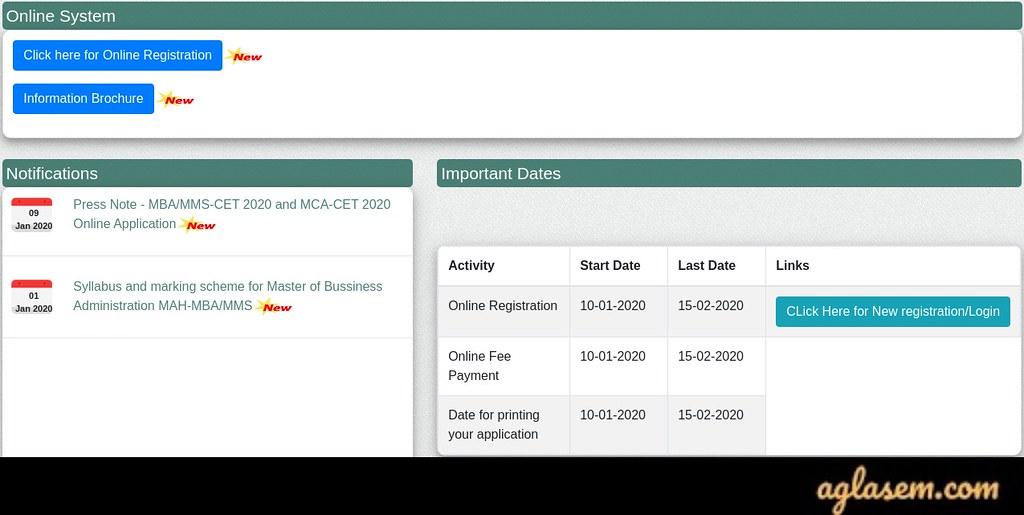 MAH MBA CET 2021 registration