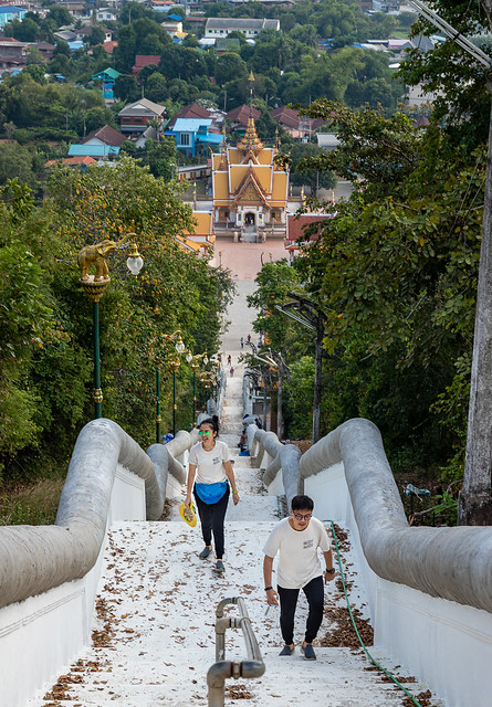 Eed and Mak Climbing the 442 Steps, Wat Sangkat Rattana Khiri, Uthai Thani