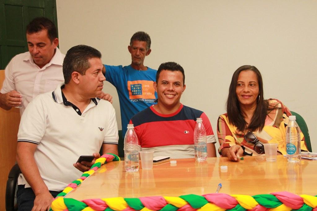 Léo Brito (Prefeito de Alcobaça), Érico Miranda (Presidente da Câmara Municipal de Vereadores) e a Vereadora Tieta