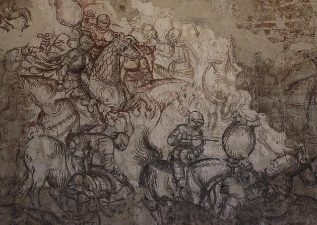 Pisanello, pseudonimo di Antonio di Puccio Pisano (Pisa o Verona, ante 1390 – Napoli, 1455 circa) - sinopia del Torneo-battaglia di Louvezerp (1494) - Palazzo del Capitano  - Palazzo Ducale di Mantova