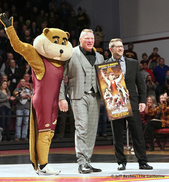 Goldy, Brock Lesnar, and Coach Brandon Eggum. 200110AJF0319