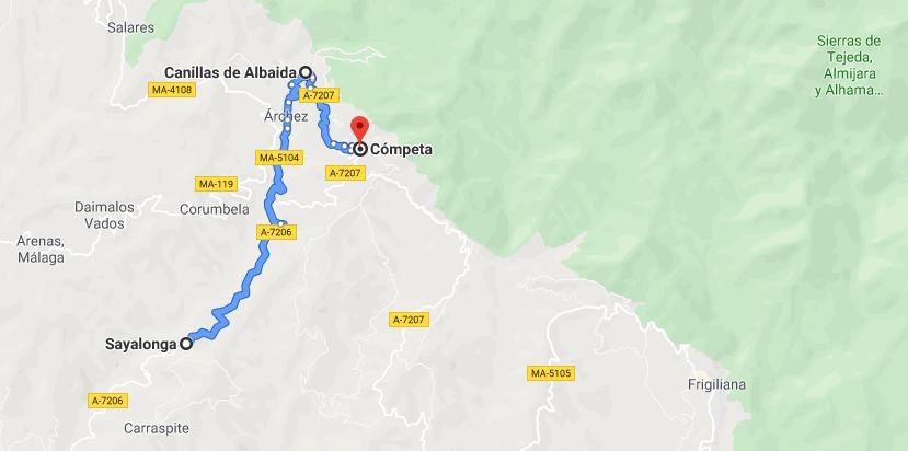 Almijara route map on Google Maps