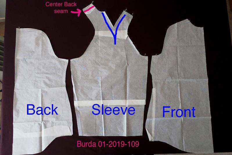Burda raglan sleeve shirt pattern pieces