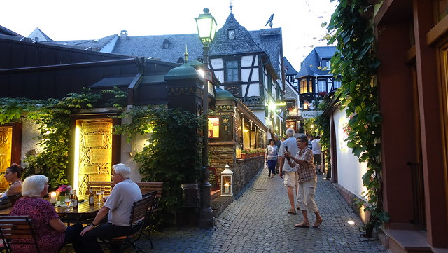 Famous little Street called DROSSELGASSE in Ruedesheim at the River Rhine, Germany