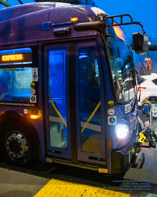 Front End of a New Flyer XDE60 on TransLink RapidRide R3 Duty