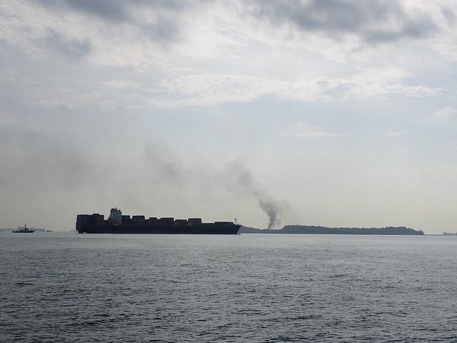 Large plume of smoke from Pulau Senang