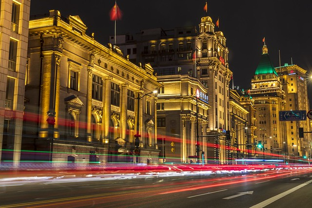 Historic Buildings in Shanghai Bund and Light Trails