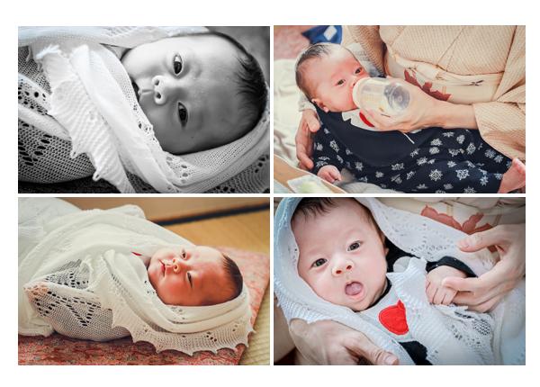 生後1か月の赤ちゃん ショールにくるまってカワイイ❤