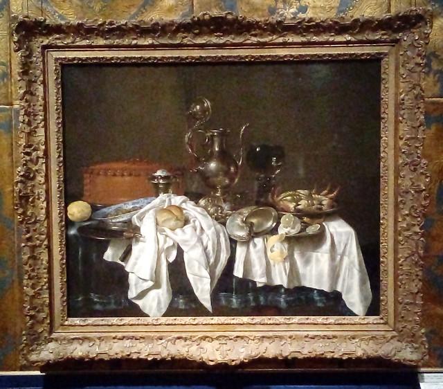 Stilleven met pastei en zilveren kan / Still life with pie and silver ewer (1658), Willem Claesz. Head (1594-1680)