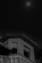 "Part of a housetop beneath the Wolf Moon penumbral Eclipse 2020. Rumour has it that this particular building might be haunted. It is located in the East End of Thessaloniki, Greece.  When the shot was captured, the moon was at a 52.7° altitude above the horizon and 371,437 km away. The dog was constantly howling, baying at the moon during shooting!  Shot inspired by Edgar Allan Poe's lines:  ""On this home by horror haunted- tell me truly, I implore- Is there- is there balm in Gilead?- tell me- tell me, I implore!' Quoth the Raven, 'Nevermore.'""  —Edgar Allan Poe (The Raven)  For a balanced exposure of both the housetop and the full moon's penumbral eclipse, the necessary shutter speed was too slow to capture discernible details of the fast-moving lunar surface (which was in the penumbra, anyway)."